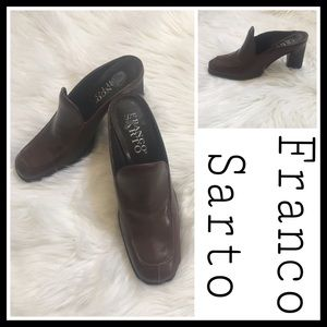 Franco Sarto Brown Slip-on Heel Loafer